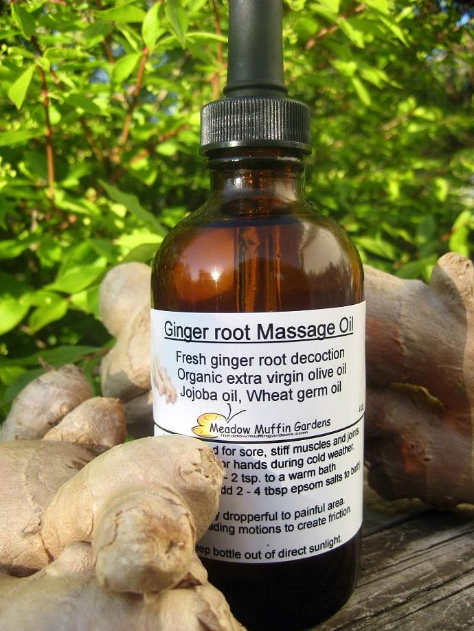 Fresh Ginger root Massage Oil, Pain relief, Warming oil, Cold Fingers, Cold Toes