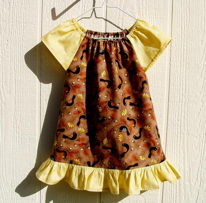 Crows and Flowers on Brown Peasant Dress Size 4 Toddler