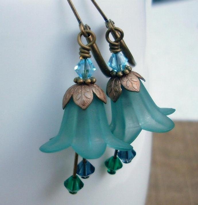 On Sale - Blooming Earrings in Calm Water Blues an