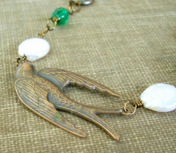 Treasured Flight - Brass Bird, Pearl, and Sea Gree