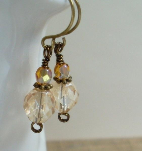 Sparkling Czech Glass Dangle Earrings - Champagne
