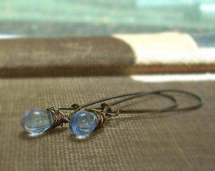 Water Droplet Earrings in Sky Blue