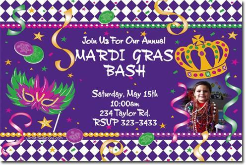 Mardi Gras (New Orleans) Invitations **Download JPG Immediately**