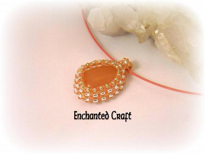 orange aventurine beaded pendant- silver and peach
