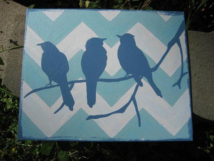 Original Aqua Chevron birds silhouette painting