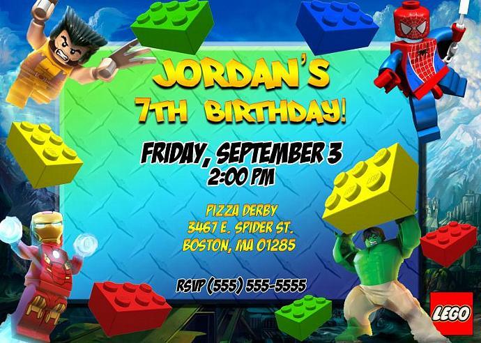 Lego Marvel Birthday Invitation