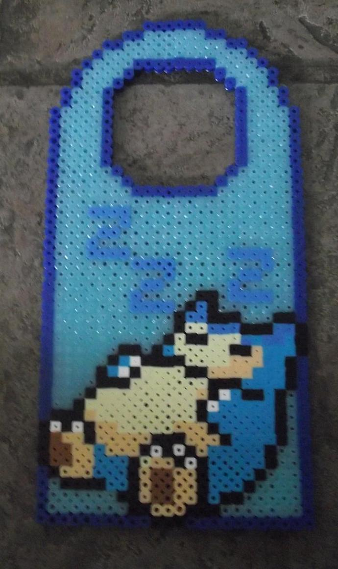 snorlax glowing perler bead door sign by themeltedgeek on