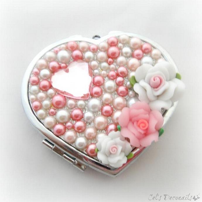 Pink roses and pearls compact mirror, gift for her