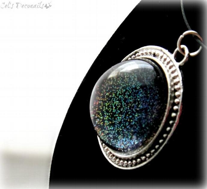 Black rainbow gothic pendant