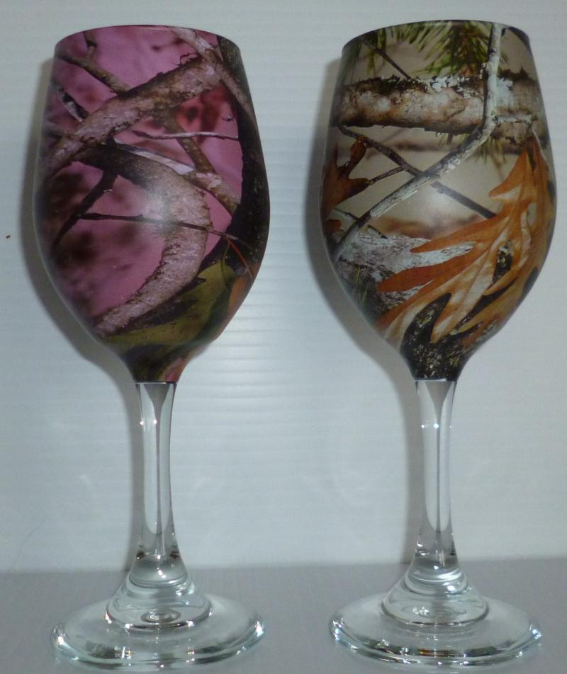 Wedding Table Camo Wine Glasses In Pink And Tan By