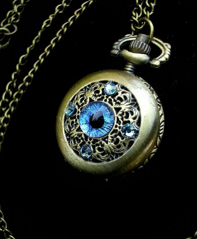 ON LAYAWAY - Pocket Watch - Sky Light Teal Purple Blue GLOW - Steampunk