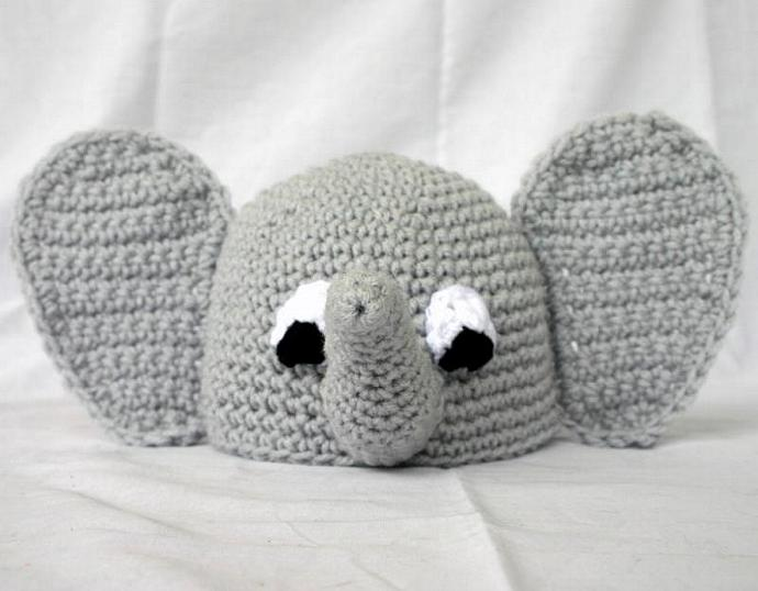 068a452be50 Baby elephant beanie hat PDF Crochet Pattern 0-6 months infant african zoo