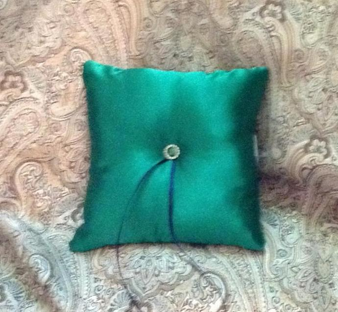 Ring bearer pillow emerald green satin