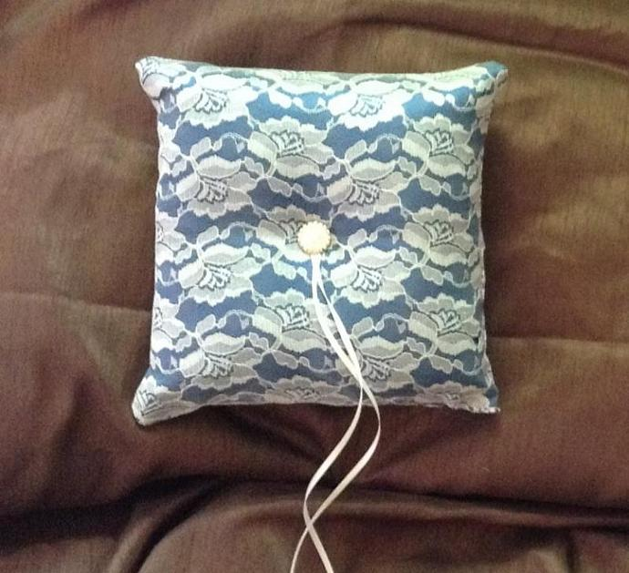 Ring bearer pillow blue satin white lace
