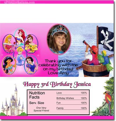 Princess Candy Bar Wrappers **DOWNLOAD JPG IMMEDIATELY**