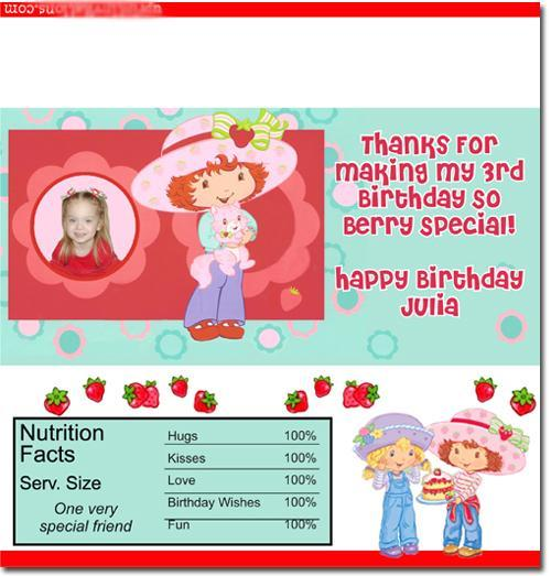 Strawberry Shortcake Candy Bar Wrappers **DOWNLOAD JPG IMMEDIATELY**
