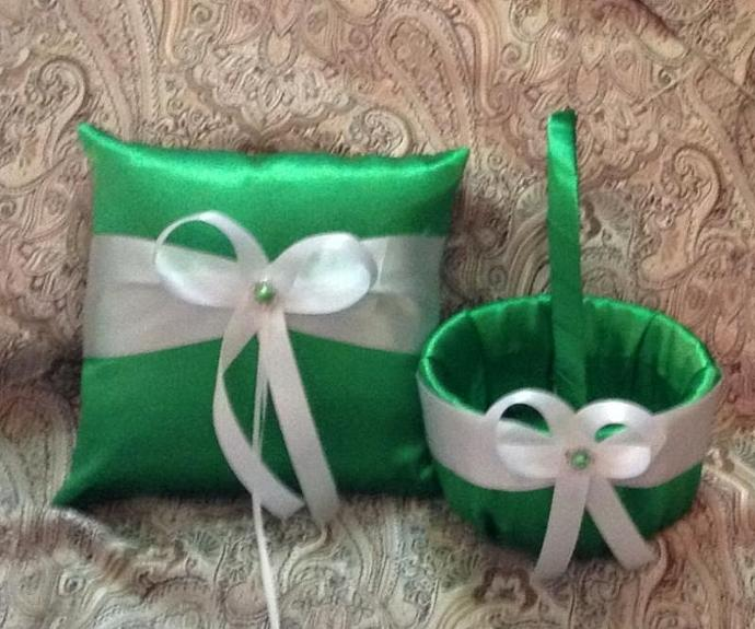 Ring bearer pillow  flower girl basket green white