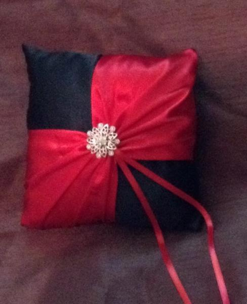 Ring bearer pillow red and black