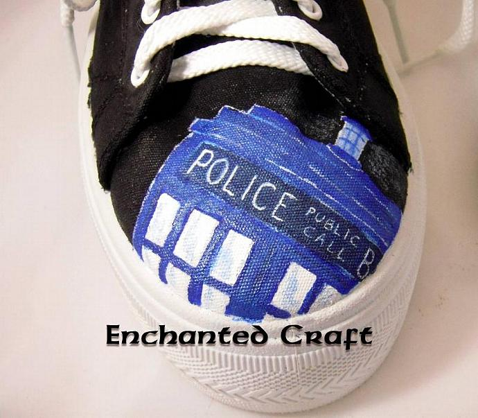 hand painted Doctor Who shoes- with Tardis & Dalek