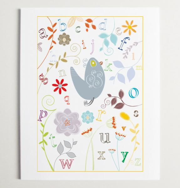 Little Alphabet Garden Nursery Wall Art Print