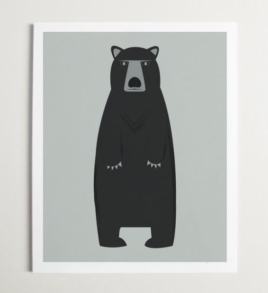 Bear Art Modern Nursery Wall Art for Kids Room by modernpop on Zibbet