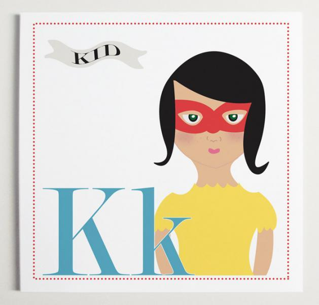 Kk is for Kid (Girl or Boy Versions) Alphabet Print
