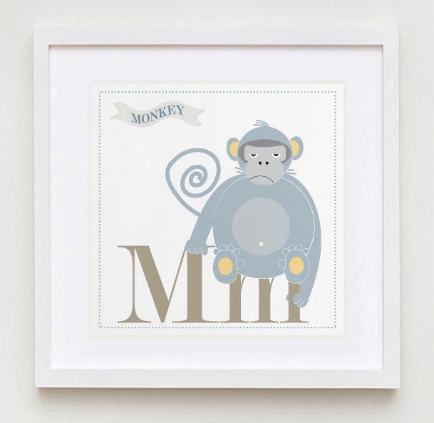 """Mm is for Monkey Nursery Wall Art Print - 8"""" x 8"""" - Modern Nursery Art for Kids"""