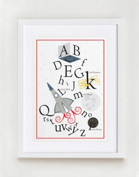 Space Alphabet Wall Art Print