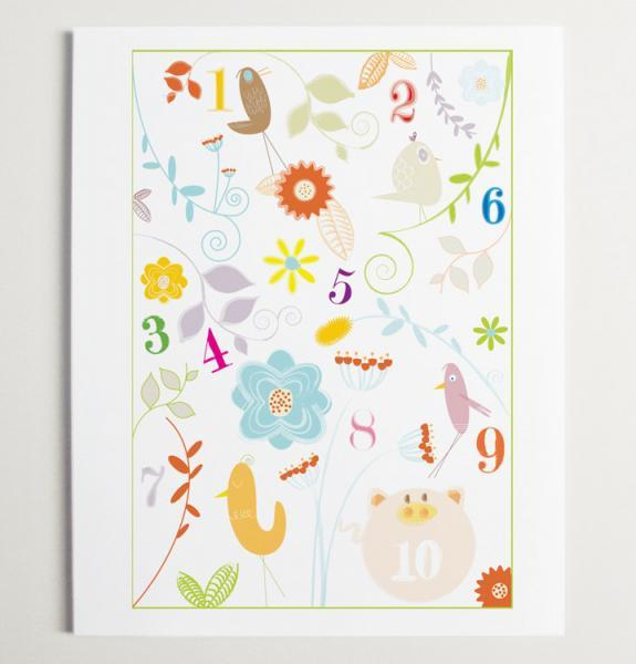 Little Number Garden Nursery Wall Art Print