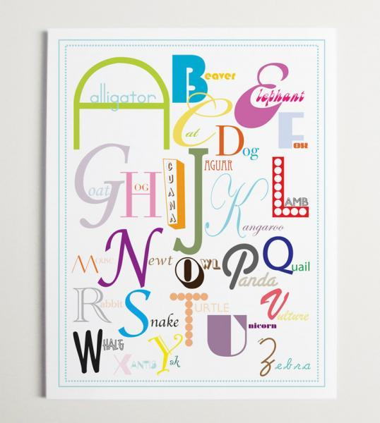 Animal Alphabet Nursery Wall Art Prin