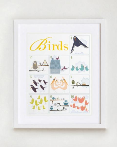Counting Birds 1-10 Number Nursery Wall Art Print