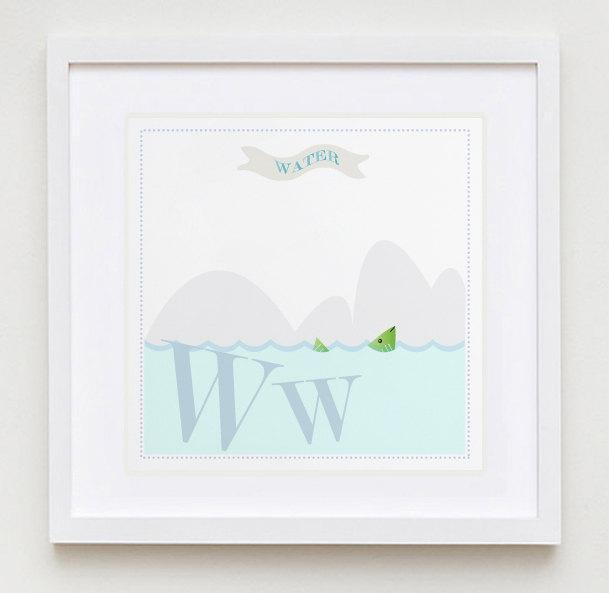 Ww is for Water Alphabet print
