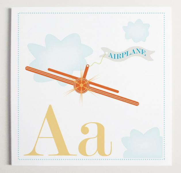 Aa is for Airplane Alphabet Print