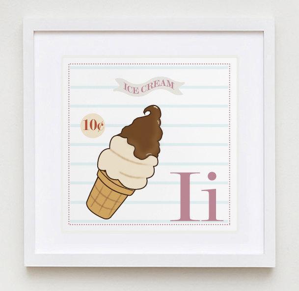 Ii is for Ice Cream Alphabet Print