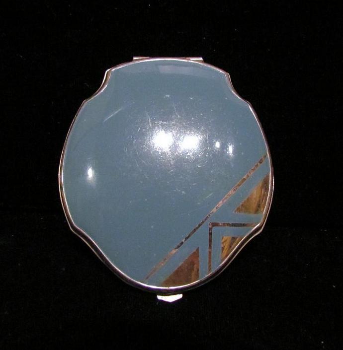 Art Deco Blue Enamel Powder Compact 1940's Elgin American Compact Vintage Mirror