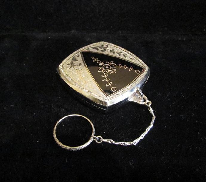 Vintage Art Nouveau Evans Compact Purse Powder Compact Vintage Compact Enamel