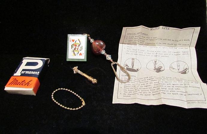 Handmade OOAK Keychain Lighter Vintage Lighter Permanent Match Lighter Keychain