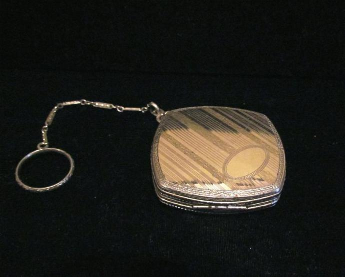 Vintage FMCO Compact Purse Dance Purse Finger Ring Compact Powder Compact Purse