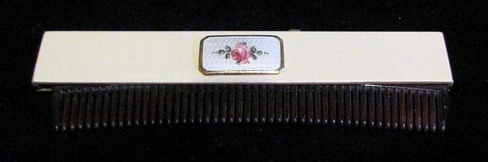 1922 Guilloche & Enamel Comb B & B Co Comb Vintage Comb Retractable Comb Ladies