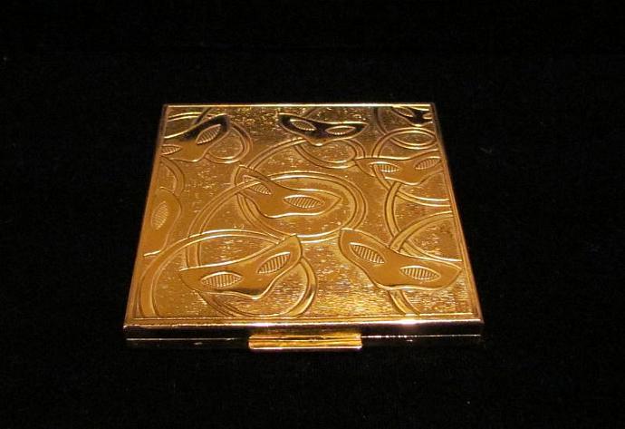 Vintage Elgin American Mask Novelty Compact Gold Powder Mirror Compact Art Deco