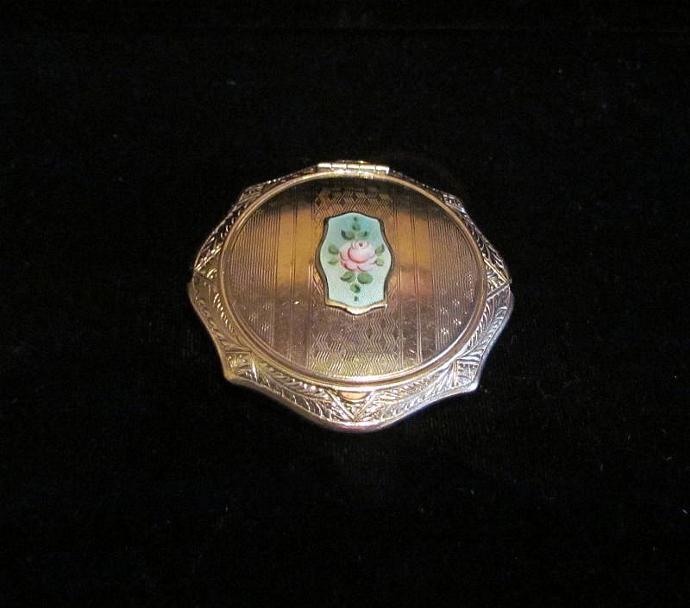 1920's Powder Compact Guilloche & Silver Compact Art Deco Compact Powder Compact