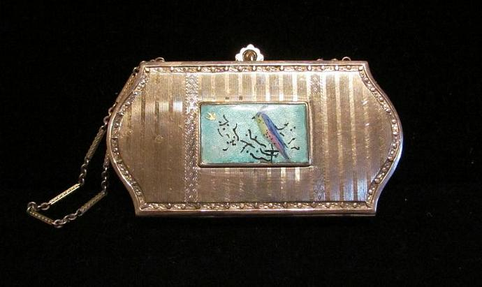 1920's Guilloche & Silver Wristlet Purse Powder Compact Dance Purse Vintage