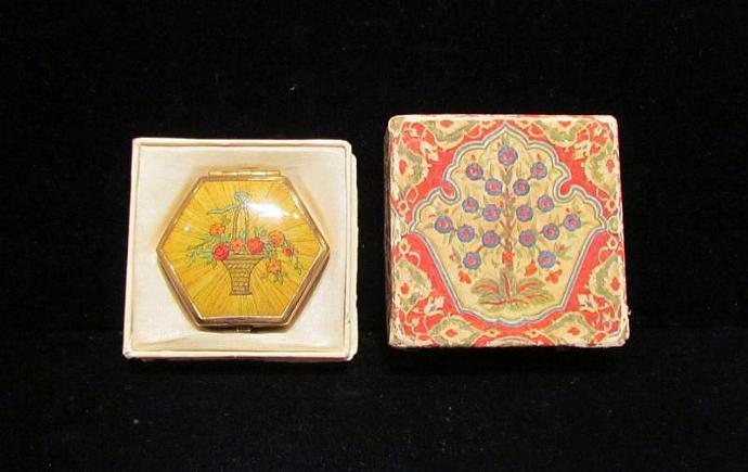 1930s Houbigant Hexagon Compact Antique Powder Rouge And Mirror Compact Boxed
