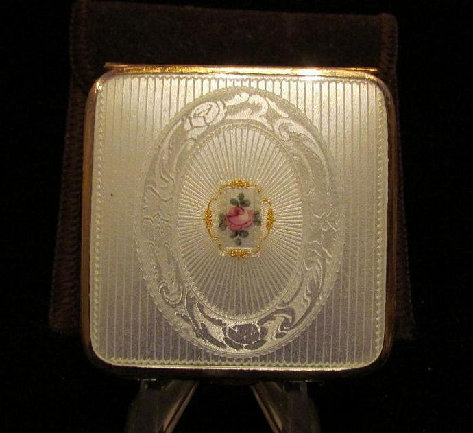 Vintage Guilloche Compact 1930s Bliss Brothers Powder Compact 24kt Gold Plate