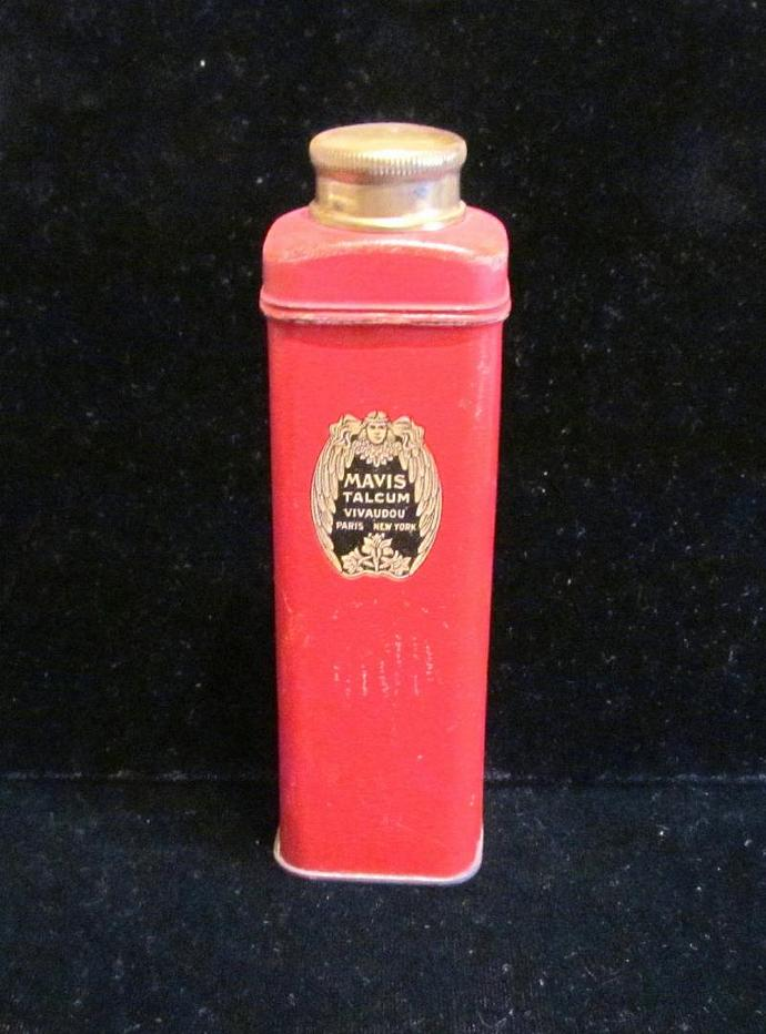 Vintage Tin 1920's Mavis Powder Tin Vivaudou Tin Talcum Powder Trial Size Tin