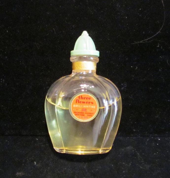 1930s Richard Hudnut Three Flowers Perfume Brilliantine Art Deco Bottle Vintage