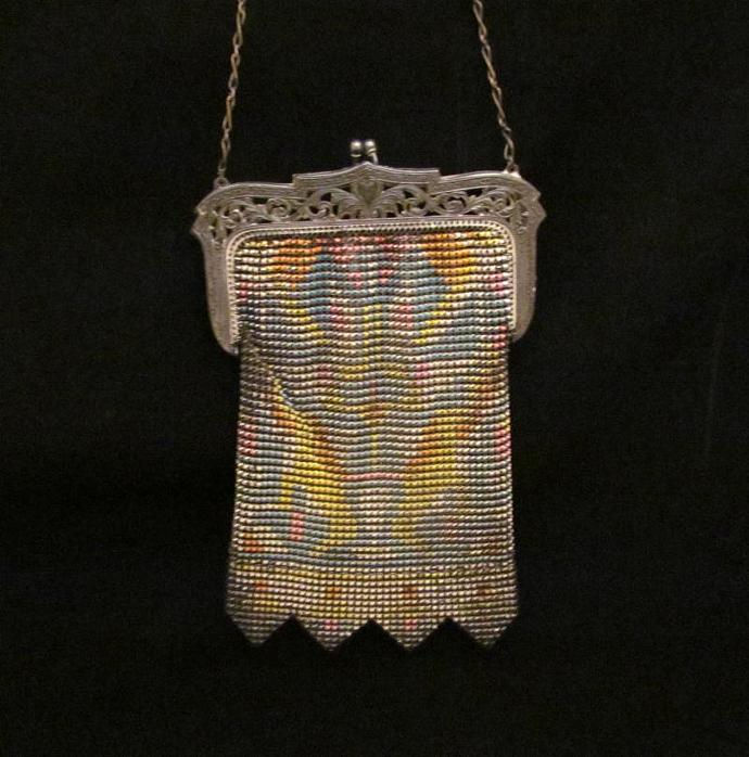 Vintage Enamel Mesh Purse 1920s Whiting And Davis Purse Art Deco Handbag Flapper