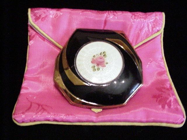 1930s Elgin American Compact Guilloche Powder And Rouge Compact Mirror Compact