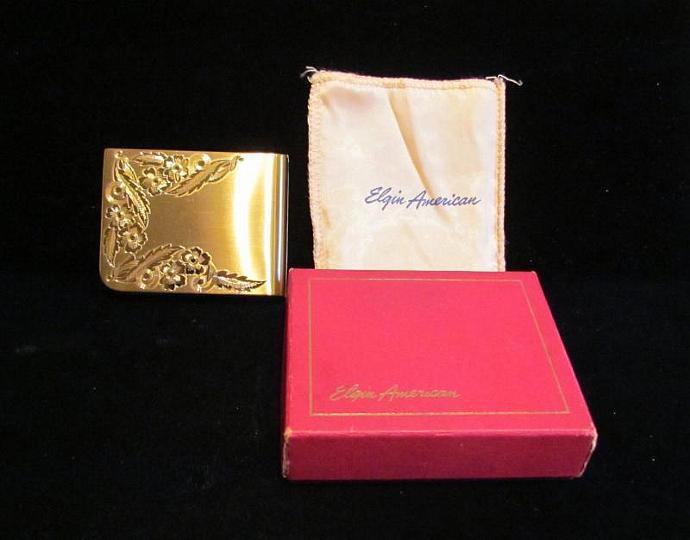Vintage Elgin Mirror & Powder Compact Gold Compact 1940s Compact Art Deco