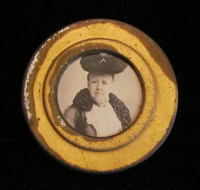 1800's Compact Tin Photo Box Antique British Tin Victorian Compact Powder Box